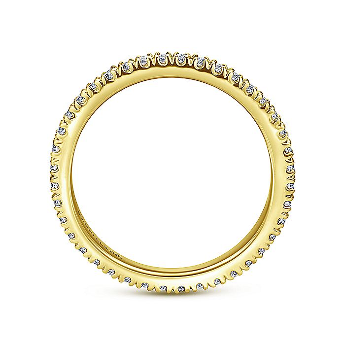14K Yellow Gold French Pavé Set Diamond Eternity Band