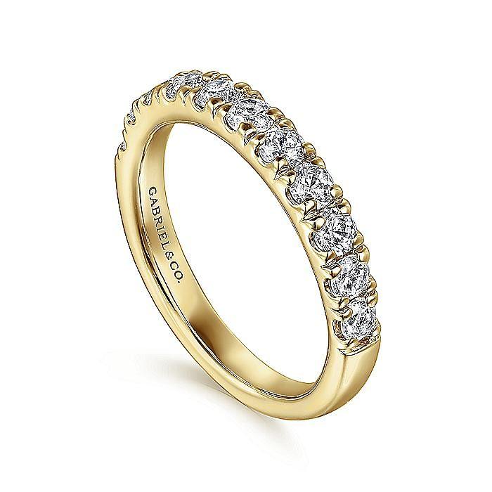14K Yellow Gold French Pavé Set Diamond Wedding Band