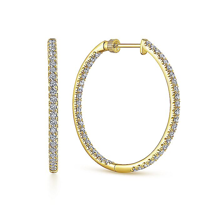 14K Yellow Gold French Pave  30mm Round Inside Out Diamond Hoop Earrings