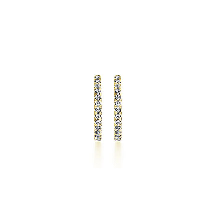 14K Yellow Gold French Pave 20mm Round Inside Out Diamond Hoop Earrings