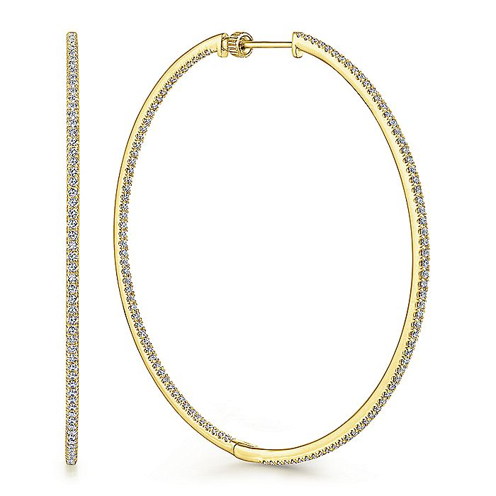 14K Yellow Gold French Pave 60mm Round Inside Out Diamond Hoop Earrings