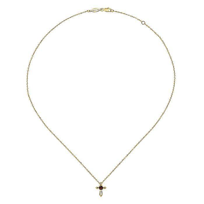 14K Yellow Gold Garnet Cross Pendant Necklace