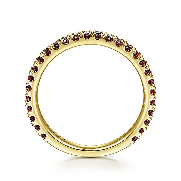 14K Yellow Gold Garnet Stacklable Ring