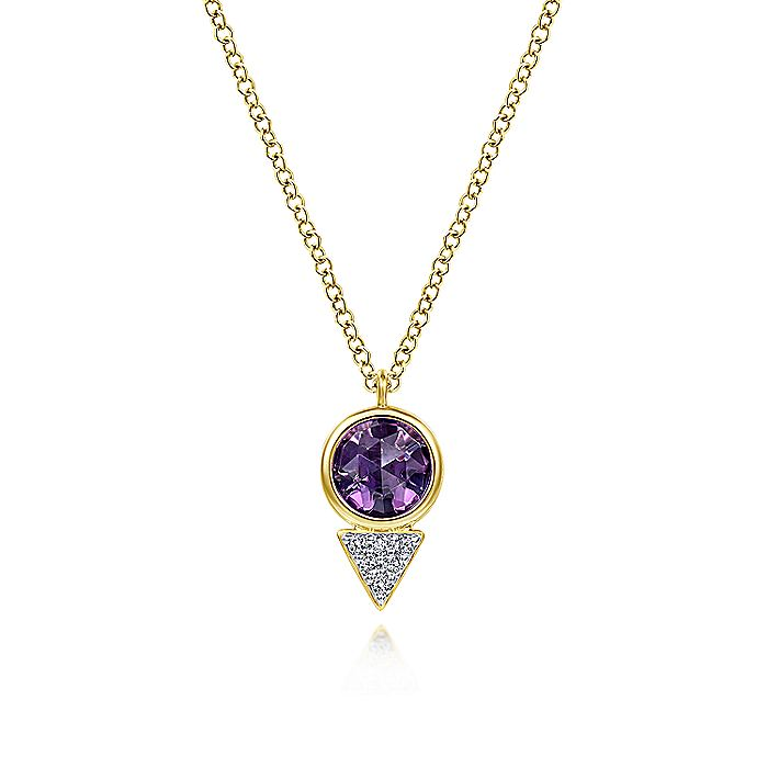 14K Yellow Gold Geometric Amethyst and Triangle Diamond Pave Pendant Necklace