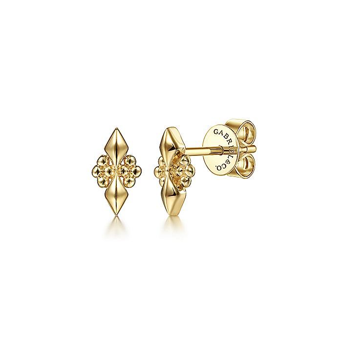 14K Yellow Gold Geometric Beaded Accent Earrings