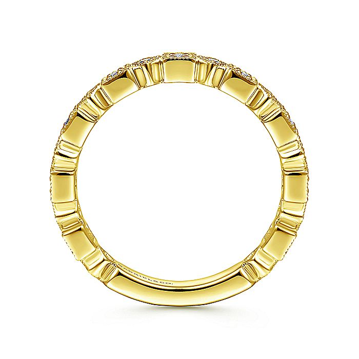 14K Yellow Gold Geometric Diamond Stackable Ring