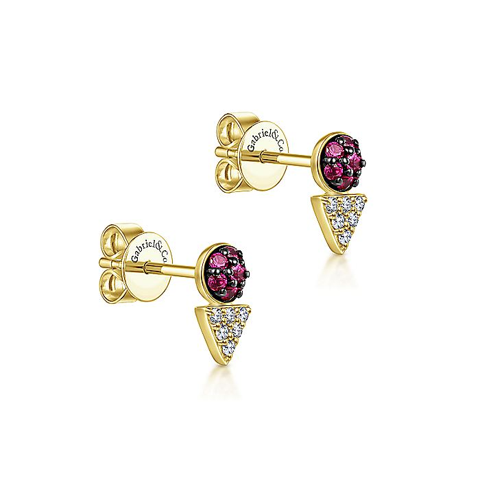 14K Yellow Gold Geometric Diamond and Ruby Cluster Stud Earrings