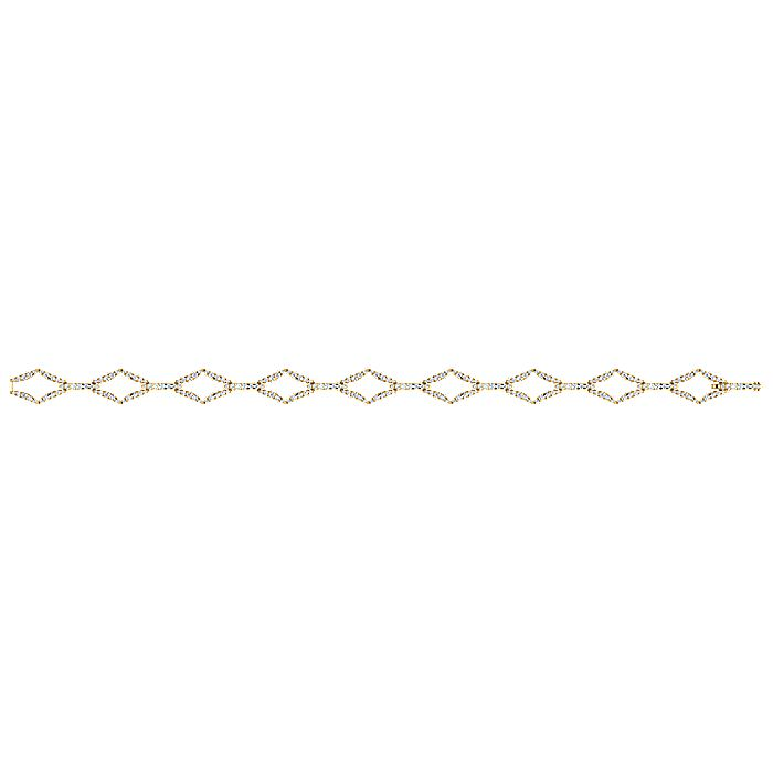 14K Yellow Gold Geometric Link Diamond Tennis Bracelet