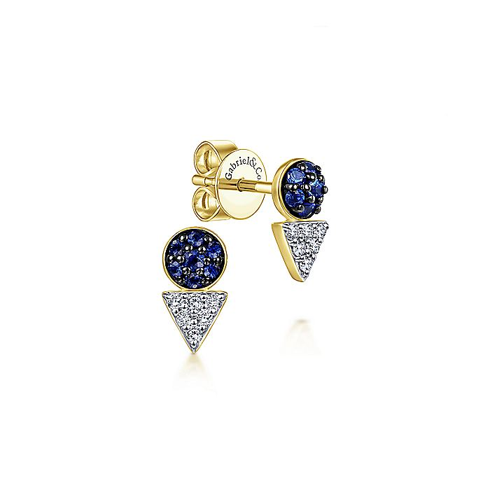 14K Yellow Gold Geometric Sapphire and Diamond Cluster Stud Earrings