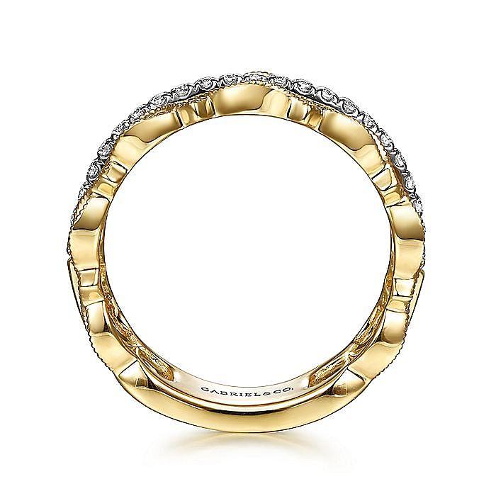 14K Yellow Gold Geometric and Diamond Three Row Ring