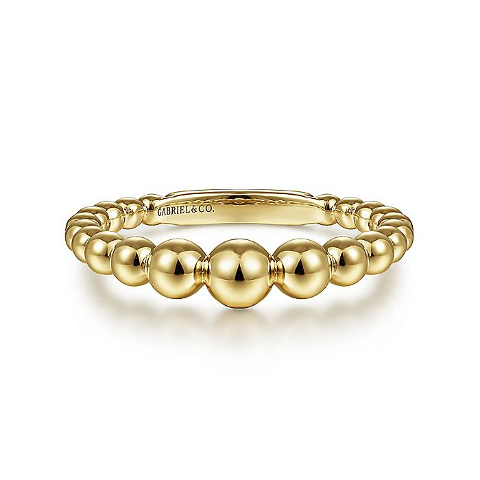 14K Yellow Gold Graduated Beaded Ring