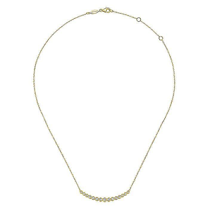 14K Yellow Gold Graduated Round Bezel Set Diamond Curved Bar Necklace