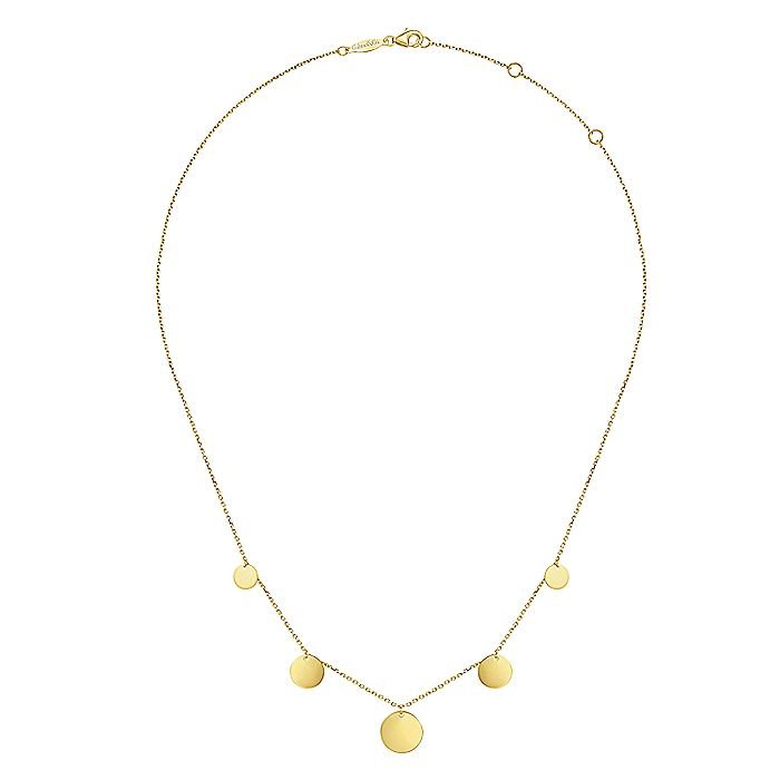 14K Yellow Gold Graduated Round Disc Drop Necklace