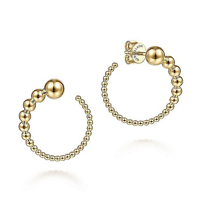 14K Yellow Gold Graduating Ball Post Hoop Earrings