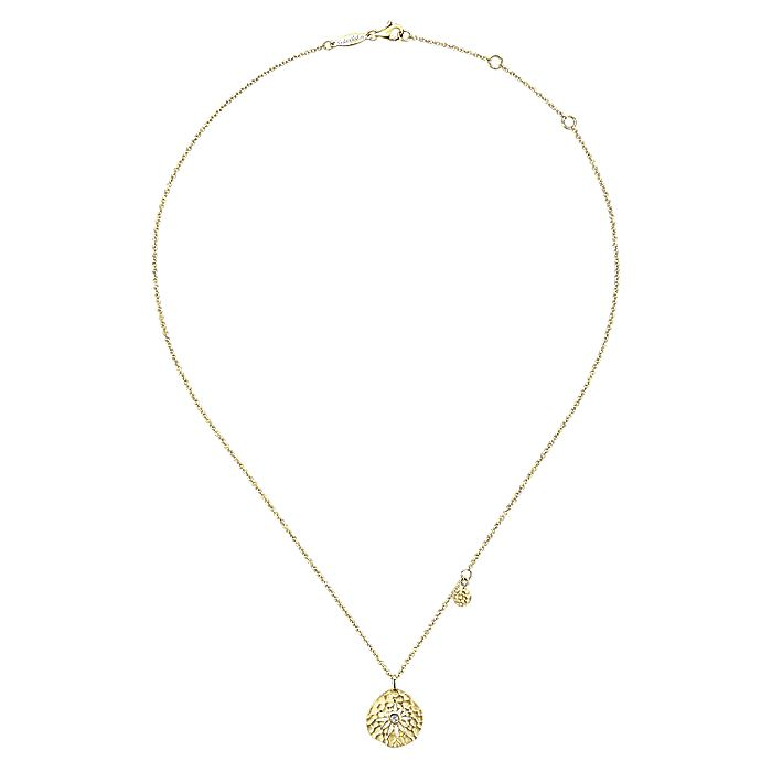 14K Yellow Gold Hammered Pendant Necklace with Diamond and Flower Overlay