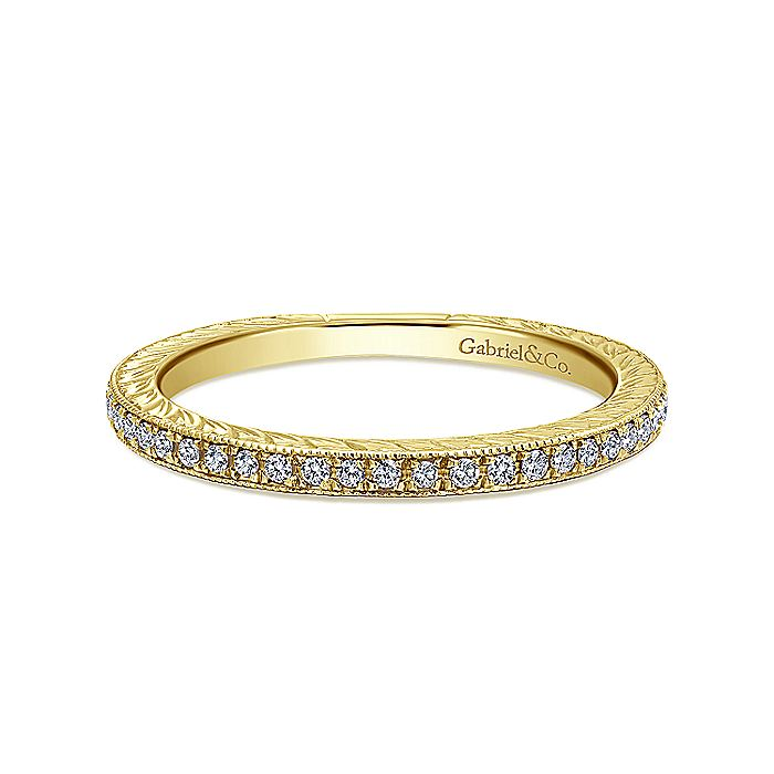14K Yellow Gold Hand Carved Stackable Diamond Ring