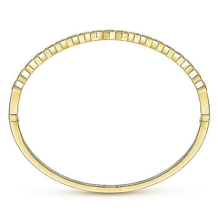 14K Yellow Gold Hexagon Set Round Diamond Bangle