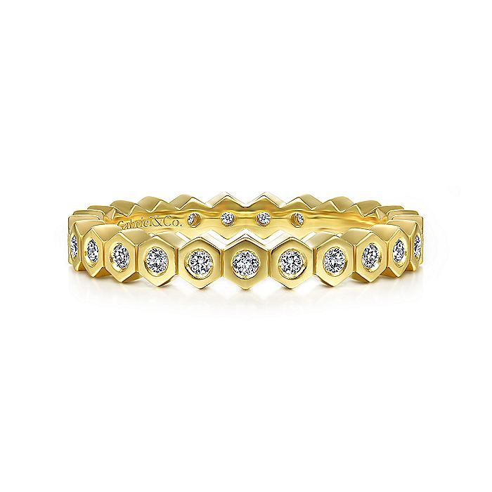 14K Yellow Gold Hexagon Shape Diamond Eternity Ring