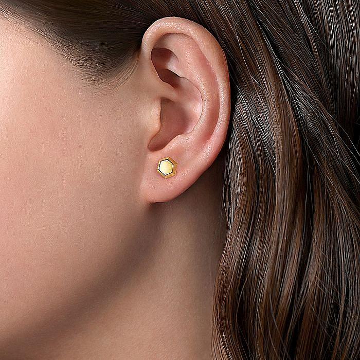 14K Yellow Gold Hexagon Stud Earrings