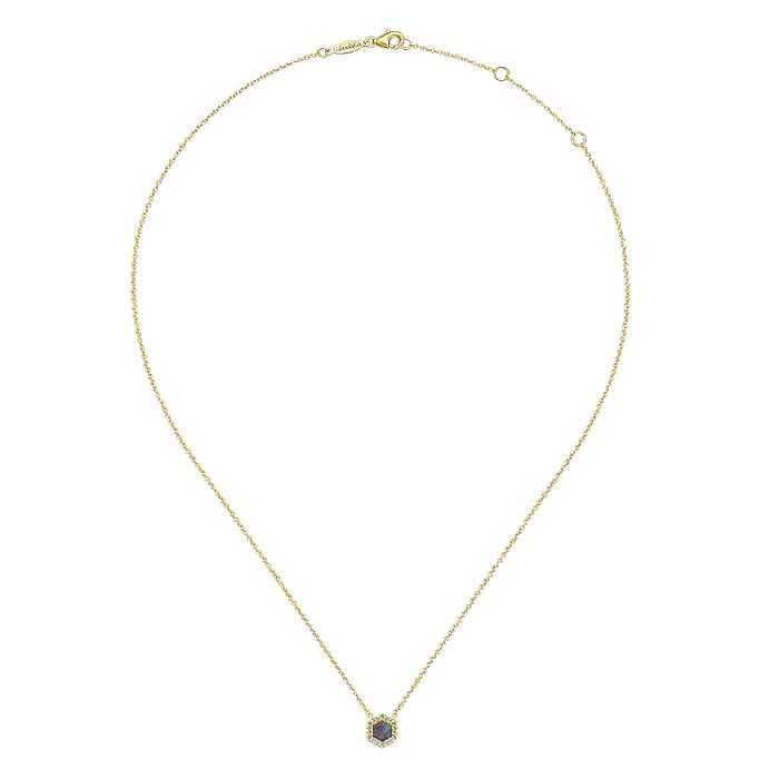 14K Yellow Gold Hexagonal Black Mother Of Pearl and Diamond Pendant Necklace