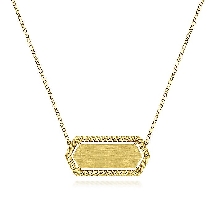 14K Yellow Gold Hexagonal Rectangle ID Necklace with Twisted Rope Frame