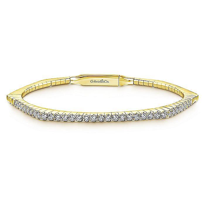 14K Yellow Gold Hexagonal Shape Diamond Bangle