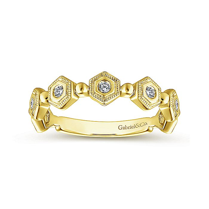 14K Yellow Gold Hexagonal Station Diamond Band