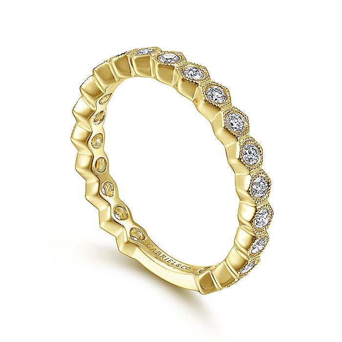 14K Yellow Gold Hexagonal Station Stackable Diamond Band