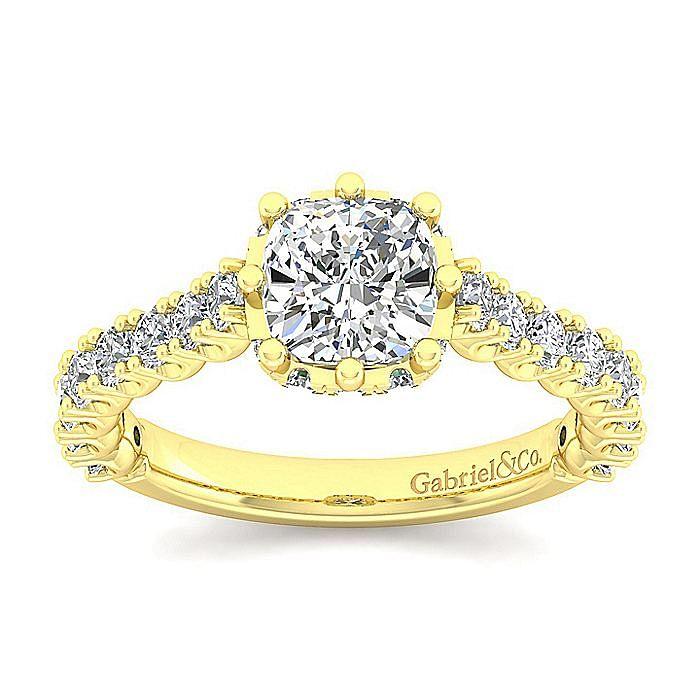 14K Yellow Gold Hidden Halo Cushion Cut Diamond Engagement Ring