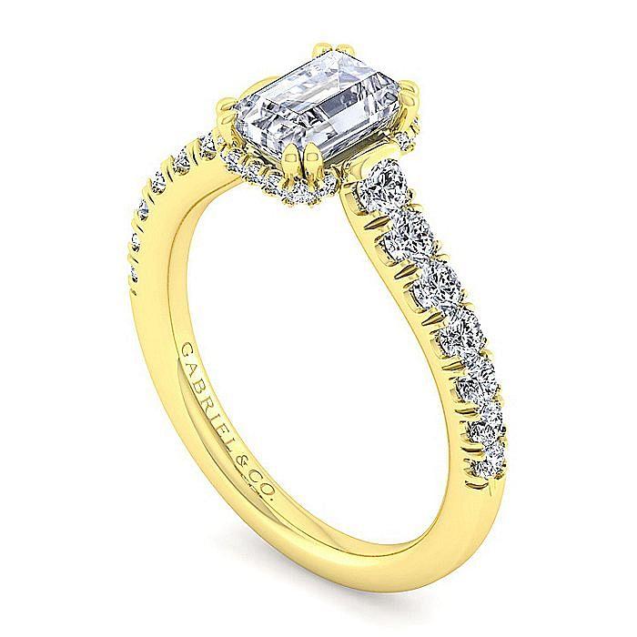 14K Yellow Gold Hidden Halo Emerald Cut Diamond Engagement Ring