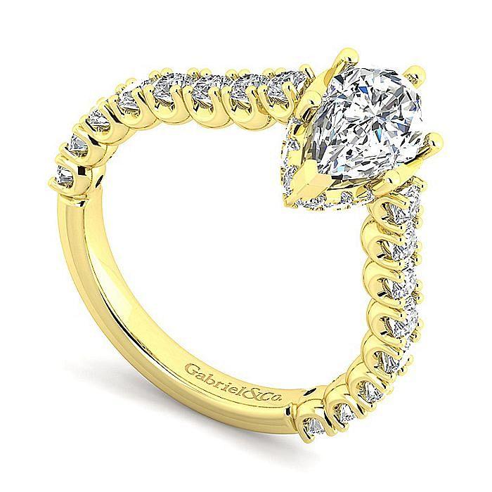 14K Yellow Gold Hidden Halo Pear Shape Diamond Engagement Ring