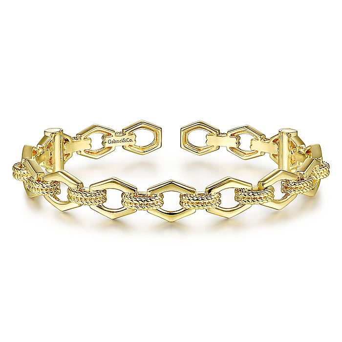 14K Yellow Gold High Polished Chain Link Cuff Bracelet with Twisted Rope Connectors