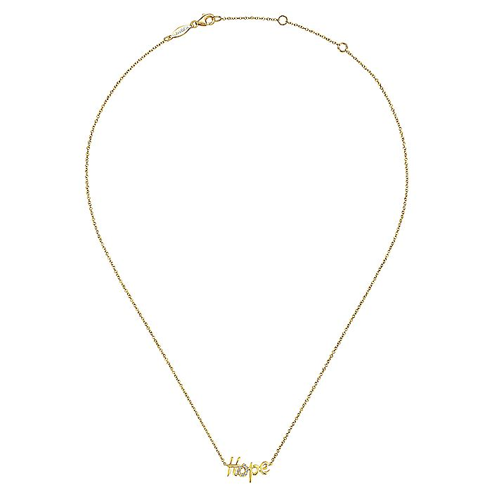 14K Yellow Gold Hope Necklace with Diamond Pavé