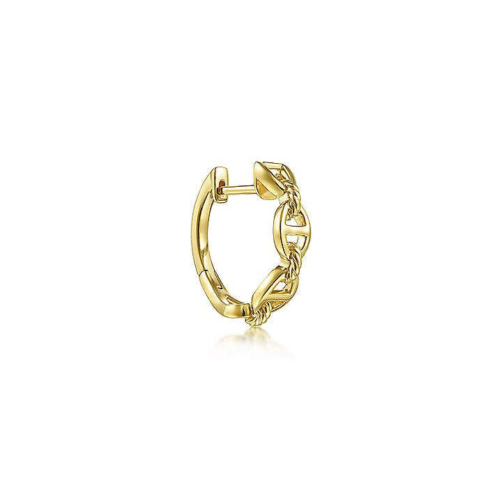 14K Yellow Gold Huggie Single Earring