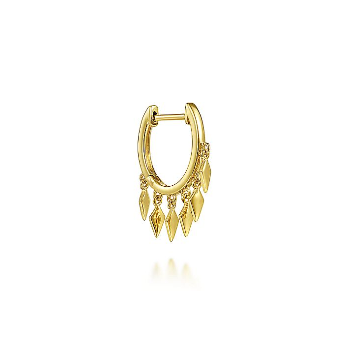 14K Yellow Gold Huggie with Spear Drops