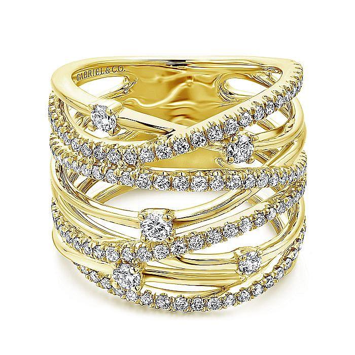 14K Yellow Gold Intersecing Diamond Wide Criss Cross Ring