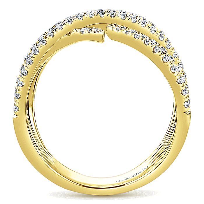 14K Yellow Gold Intersecting Rows Wide Diamond Ring
