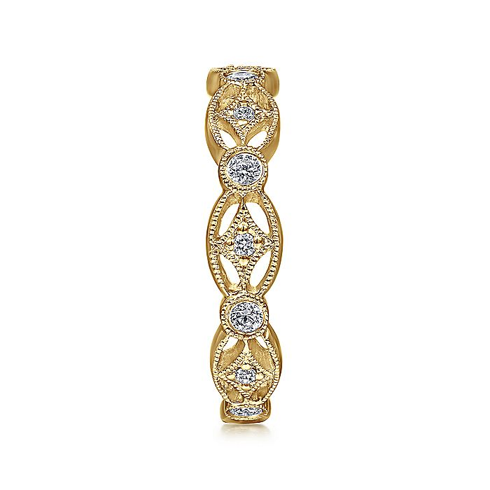 14K Yellow Gold Intricate Cutout Stackable Diamond Ring