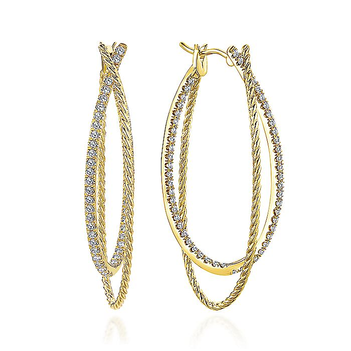 14K Yellow Gold Intricate Twisted Oval 45mm Diamond Hoop Earrings