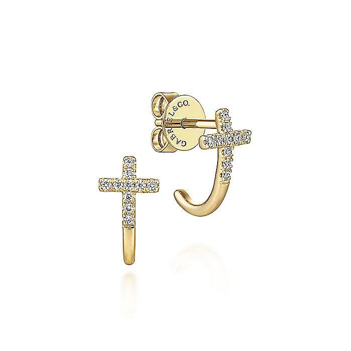 14K Yellow Gold J Curve Diamond Cross Stud Earrings