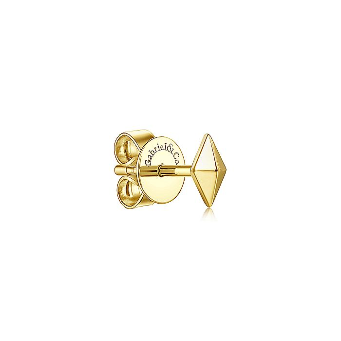 14K Yellow Gold Kite Shape Single Stud Earring