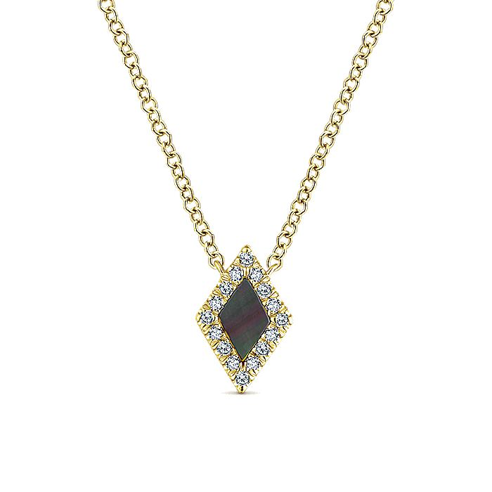 14K Yellow Gold Kite Shaped Black Mother Of Pearl and Diamond Pendant Necklace