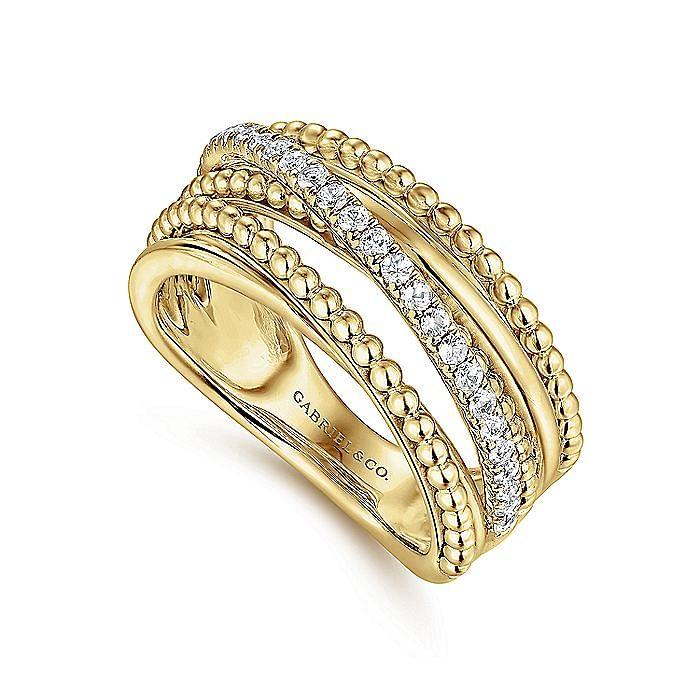 14K Yellow Gold Layered Bujukan Beaded Diamond Ring