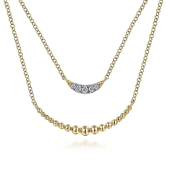 14K Yellow Gold Layered Diamond Crescent Pendant Necklace