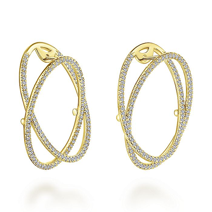 14K Yellow Gold Layered Double 35mm Diamond Intricate Hoop Earrings
