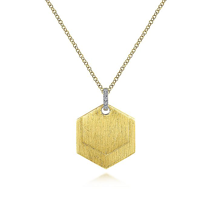 14K Yellow Gold Layered Hexagonal Engravable Pendant Necklace with Diamond Bale