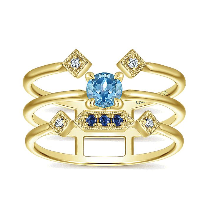 14K Yellow Gold Layered Split Shank Multi Color Stones Diamond Ring