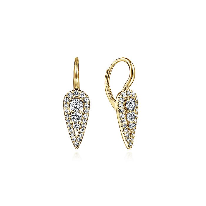 14K Yellow Gold Long Cluster Teardrop Leverback Diamond Earrings