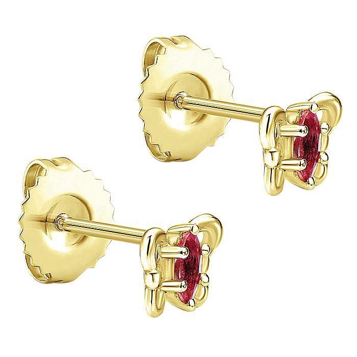 14K Yellow Gold Marquise Garnet Butterfly Stud Earrings