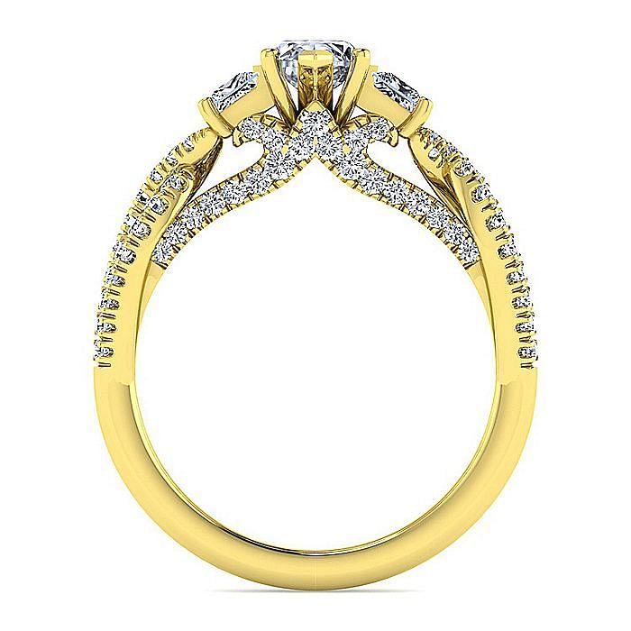 14K Yellow Gold Marquise Shape Diamond Engagement Ring